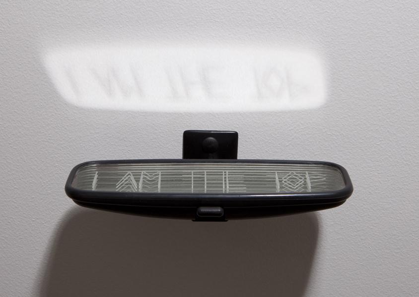 I AM THE TOP<br />2005<br />RETROVISEUR AUTOMOBILE, GRAVURE<br />5 X 19,5 X 10 CM